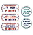 passport stamps vector image