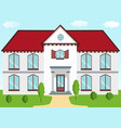 classic cottage with a red roof porch columns vector image