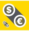 dollar euro icons Signs set vector image