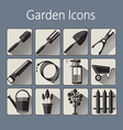 Gardening icons set over a silver blue background vector image