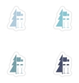 Set of paper stickers on white background Tree vector image