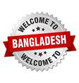 Bangladesh 3d silver badge with red ribbon vector image