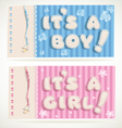 Its a boy and its a girl banners 1 vector image vector image