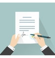 Businessman signing document  hands holding vector image