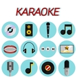 Karaoke flat icon set vector image