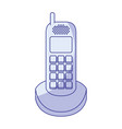 blue shading silhouette of cordless phone vector image