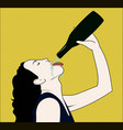 drinking woman with opened bottle in a hand vector image