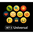 Flat icons set 3 - universal collection vector image