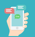 hand holding smart phone with chat application vector image