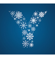 Letter Y font frosty snowflakes vector image