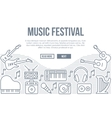 Music festival background with line icons vector image
