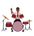 Handsome African male drummer playing drums vector image