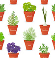 seamless texture with herbs planted in pots for vector image