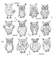 set of cute cartoon wise owls isolated on white vector image