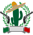 mexican cactus and two pistols and laurel wreath vector image vector image