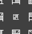 Bookshelf icon sign Seamless pattern on a gray vector image