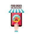 Online food order app Person choosing donut menu vector image