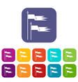 ancient battle flags icons set vector image
