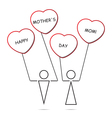 boy and girl and heart balloons with text vector image