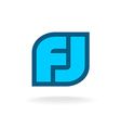 F and J letters monogram logo template vector image