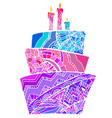 Greeting card with coloring cake vector image