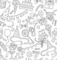 Happy birthday party doodle black and white vector image