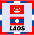 official ensigns flag and coat of arm of laos vector image