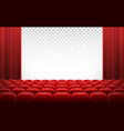 white cinema theatre screen with red curtains and vector image