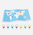 World map with geo position pins EPS10 file vector image