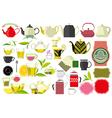 tea teacup and teaspoon tea leaf big set vector image