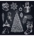 Christmas Elements On Chalkboard Set vector image
