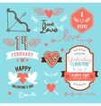 hand-lettered vintage st valentines card elements vector image
