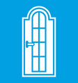 arched wooden door with glass icon white vector image vector image
