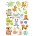cute baby cartoon collection with animals vector image vector image