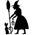cat and witch vector image