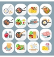 Home cooking flat icons set vector image