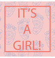 Its-a-girl-card-with-feets-and-frame vector image vector image