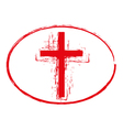 black grunge easter cross symbol vector image