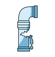 blue shading silhouette of water pipe broken vector image