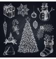 Christmas Elements On Chalkboard Set vector image