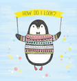 cute hand drawn penguin vector image