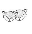 line cute fox head animal couple together vector image