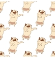 Seamless pattern with hand drawn pug dogs vector image