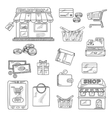 Shopping and retail icons set sketch style vector image