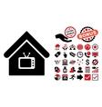 Tv Office Flat Icon with Bonus vector image