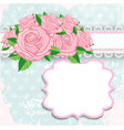 Vintage background with pink roses vector image
