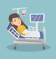 young caucasian woman lying in hospital bed vector image