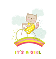 Baby Shower Card - Baby Girl Cat on a Bike vector image vector image