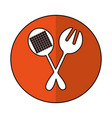 spoon and fork kitchen cutlery isolated icon vector image vector image