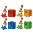 four color in buckets and paintbrushes vector image